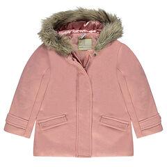 dfd64e9de1b8a Manteau effet drap de laine doublé sherpa