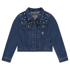 Junior - Jeansvest met used effect en fantasieparels