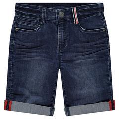 Bermuda en jean effet used et crinkle avec détail passant rayé