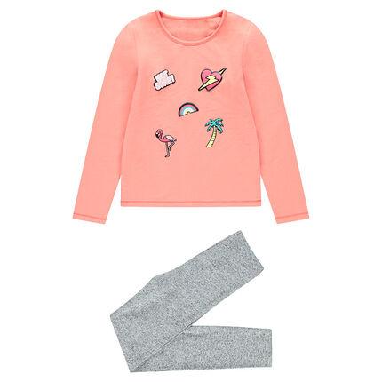 Pyjama uit jerseystof in twee kleuren met fantasieprint
