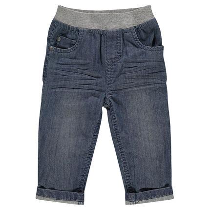 Jeansbroek met used effect elastische tailleband