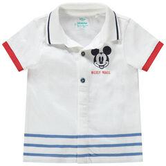 Polo manches courtes avec print Mickey Disney et rayures placées