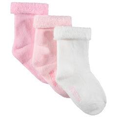 Set met 3 paar effen bouclé-sokken