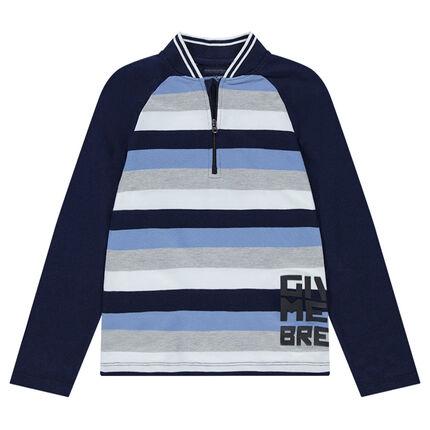 Junior - Polo met lange mouwen van jerseystof met contrasterende strepen en ritssluiting