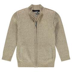 Gilet côtelé en tricot slub