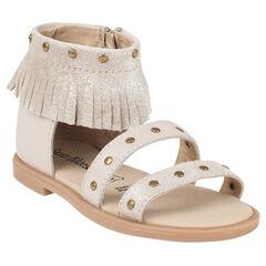 Open schoenen in beige leder met pailletten met franjes