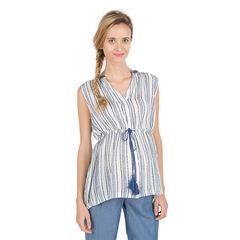 Chemise de grossesse sans manches avec rayures fantaisie