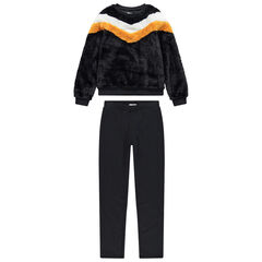 Junior - Jogging avec sweat en sherpa tricolore et pantalon droit