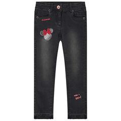 Jeans met used effect en borduurwerk van Minnie Disney