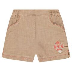 Short en coton fantaisie avec broderie et pompon