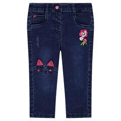 Jeans van molton met used effect, borduurwerk en inzetstuk in de vorm van een kat