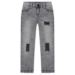 Slim-fit jeans met used en crinkle effect
