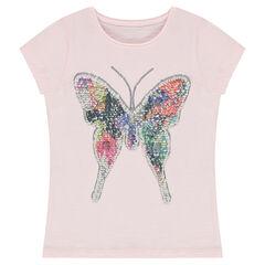 T-shirt met korte mouwen van jerseystof met vlinder van lovertjes