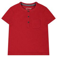 Tee-shirt manches courtes en jersey slub avec poche plaquée