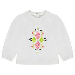 Tee-shirt manches ballon avec motif coloré printé