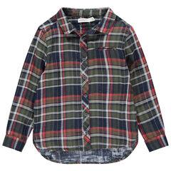 Chemise à carreaux manches longues à poche