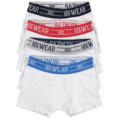Lot de 4 boxers avec taille contrastée et inscription en jacquard