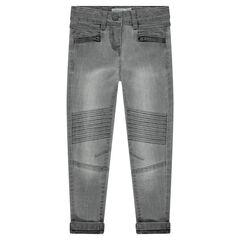 Jeans effet used avec poches zippées et plis