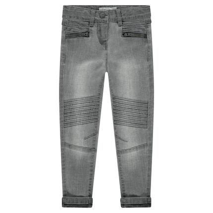 Jeans met used-effect, zakken met ritssluiting en plooien