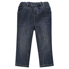 Jeansbroek used effect elastische tailleband