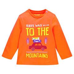 T-shirt lange mouwen in jersey in effen kleur fantasieprint