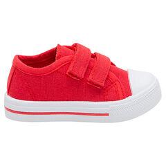 Lage sneakers van efen rood linnen met klittenbandsluiting van maat 24 tot 27