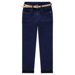 Junior - Jeans met crinkle-effect en afneembare vergulde riem