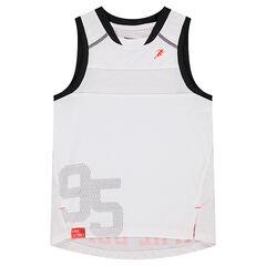 Tanktop uit polyester met opschrift met mesh effect op de achterzijde