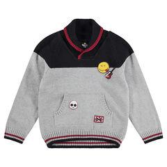 Pull en tricot avec badge et motif jacquard ©Smiley