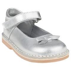 Baby's in leder met klittenband zilverkleur met strik