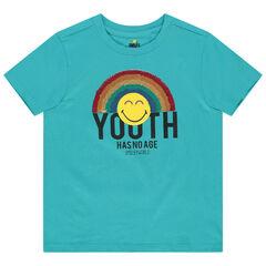 T-shirt manches courtes en coton bio print Smiley et sequins magiques