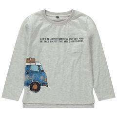 T-shirt met lange mouwen uit jerseystof met print met auto en crinkle-effect