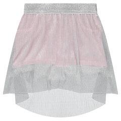 Jupe short avec voile plissé argenté