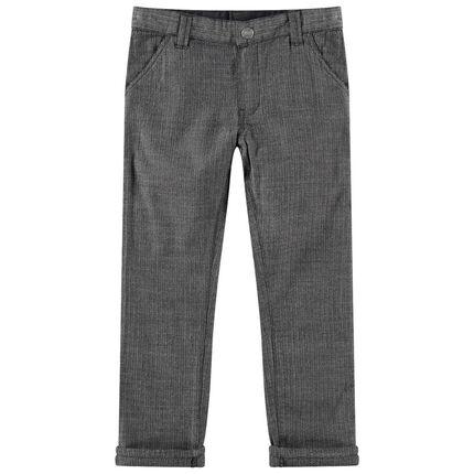 Donkergrijze broek met visgraatmotief