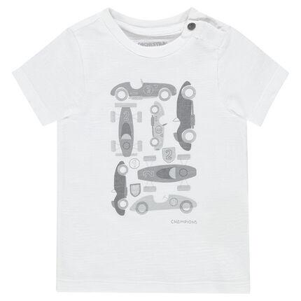 Tee-shirt manches courtes en jersey avec voitures printées