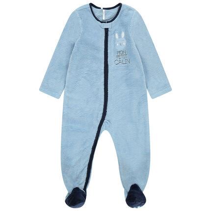 Blauwe overpyjama van sherpastof met rits en opgestikt hartje