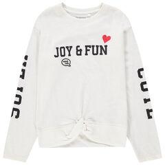 Junior - T-shirt met lange mouwen en opschriften met print en geknoopt effect