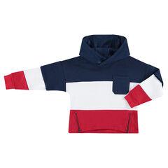 Driekleurige trui van molton met opgestikte zak en ritssluitingen vooraan