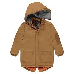 Junior - Parka en twill avec capuche amovible doublée sherpa