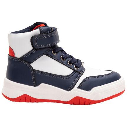 Hoge sneakers in drie kleuren met klittenband en veters van maat 28 tot 35