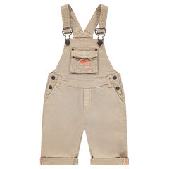Salopette courte en coton surteint avec poche et broderies