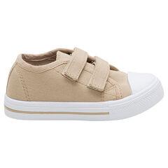 Lage sneakers van beige linnen met klittenbandsluiting van maat 24 tot 27