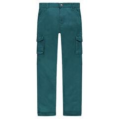 Junior - Groene broek van twill met zakken