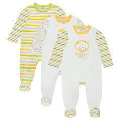 Set met 3 pyjama's van jerseystof met leeuwenprint en decoratieve motieven
