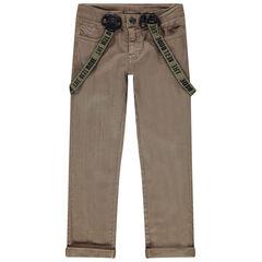 Pantalon uni à bretelles amovibles