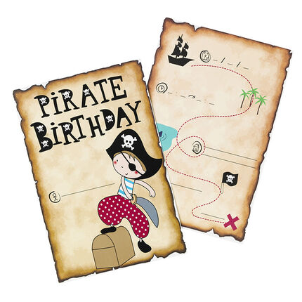 x 10 cartes d'invitation anniversaire Pirate