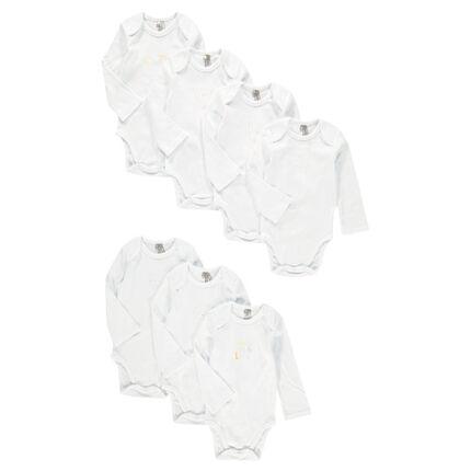Lot de 7 bodies manches longues en coton à print fantaisie