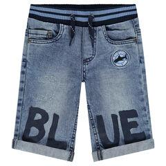 Bermuda en jeans avec taille élastiquée et inscription printée