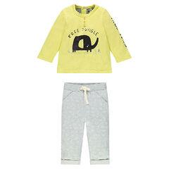 Ensemble tee-shirt print éléphant et pantalon en molleton imprimé all-over