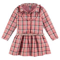 Geruite jurk met lange mouwen en met verwijderbare riem met pailletten